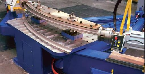 Swing arm profile stretch forming press (V & FEV)